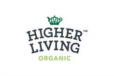 Logo for organic tea company Higher Living by B&B Studio, United Kingdom