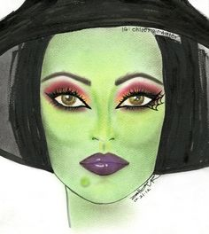 Wicked Witch. Face chart by Chloe R., Lead Artist, Sephora Powell. #Sephoraween #Halloween