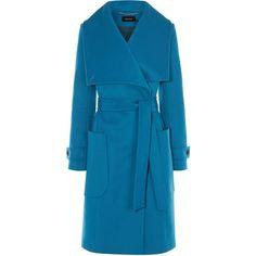 Karen Millen Blue Belted Wool Coat ($400) ❤ liked on Polyvore featuring outerwear, coats, blue, women, oversized collar coat, longline coat, woolen coat, karen millen coats and oversized wool coat