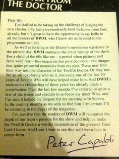 Letter from Peter Capaldi to the fans