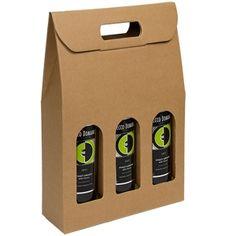 Natural Brown Kraft 3 Bottle Wine Carrier Boxes