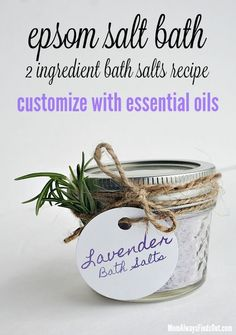 Easy DIY Epsom Salt Bath Salts Recipe - Just 2 ingredients. Customize with your favorite essential oils. Free Printable Lavender Bath Salts Gift Tags perfect for Homemade Gifts in a jar