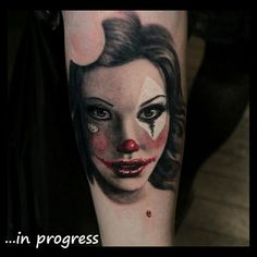 #clown #girl that i started at #LondonTattooConvention :) #hellokitty #tattoo #ink #redlips