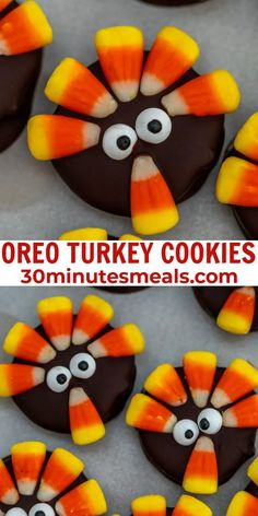 Oreo Turkey Cookies are super fun to make, and pretty much essential for Halloween or Thanksgiving holidays. #thanksgiving #halloween #cookies #oreo #dessert #snack #30minutesmeals