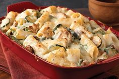 Get 'em to say Yes! to zucchini—and spinach—with this creamy rigatoni pasta dish. Just another day in the life of a rock-star mom.