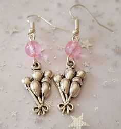 Balloon earrings with pink glass beads. Pink by WillowCraftsx