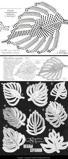 another lovely irish crochet leaf motif chart                                                                                                                                                      Mais