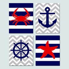 Chevron Stripe Beach Nautical Nursery Art - Set of Four 8x10 Prints - Crab, Starfish, Anchor, Ships Wheel Silhouette - Choose Your Colors on Etsy, $65.00