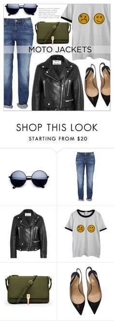 """After Dark: Moto Jackets"" by that-chic-girl ❤ liked on Polyvore featuring Acne Studios, Chicnova Fashion, Elizabeth and James, Christian Louboutin, polyvorecontest and motojackets"