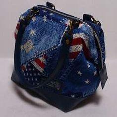 USA・デニム柄X合皮・2wayワイヤー口金ミニボストンバッグ