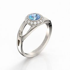 Decorum 14K White Gold 0.5 Ct Blue Sapphire by DecorumRings