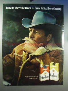 1969 Marlboro Cigarettes Ad - Marlboro Man - Cowboy-This is a 1969 ad for a Marlboro Cigarettes! The size of the ad is approximately The caption for this ad is 'Come to where the flavor is' The ad is in good overall condition, with som Retro Advertising, Vintage Advertisements, Vintage Ads, Vintage Posters, Vintage Signs, Marlboro Cowboy, Marlboro Red, Malboro, Marlboro Cigarette