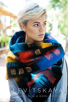 Kandinsky OOAK Handfelted Pure Silk & Merino Wool Scarf