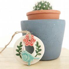Tiny Round Ceramic bird house decoration Pottery bird house  £6.00 Handmade Decorative Items, World 7, Earthenware Clay, Hanging Decorations, Ceramic Birds, Gift Guide, Planter Pots, Challenge, British