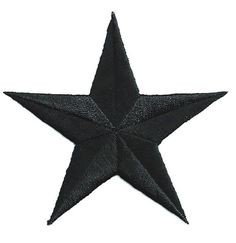 "( SET OF FOUR - 4 ) GENEROUS 3"" BLACK EMBROIDERED STARS IRON ON PATCHES"