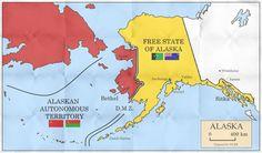Alaska halb russisch, halb unabhaengig Alternate Worlds, Alternate History, Historical Maps, Historical Pictures, Alaska, Map Symbols, Imaginary Maps, Free State, Mystery Of History
