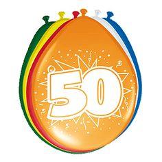 Gekleurde ballonnen 50 jaar. Deze gekleurde ballonnen hebben een opdruk met het cijfer 50 en zijn verpakt per 8 stuks. Formaat: 30 cm.