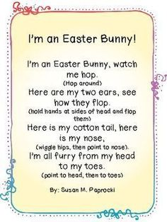 I'm an Easter Bunny Poem – Ann Dickerson I'm an Easter Bunny Poem Easter Language Arts Activities: I'm an Easter Bunny Poem April Preschool, Preschool Music, Spring Preschool Songs, Preschool Fingerplays, Preschool Ideas, Songs For Toddlers, Kids Songs, Easter Songs For Preschoolers, Easter Songs For Children