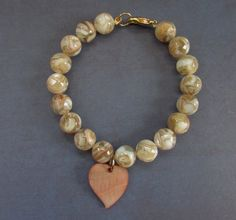 Mother of Pearl Gemstone Bracelet with Accent Heart by RobertaJune