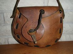 Love the asymmetry and the closure - Vtg 70's Tooled Leather Hippie Shoulder Bag Purse | eBay