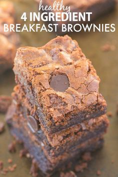 Healthy Four Ingredient Breakfast Brownies- You won't believe these flourless brownies have no butter, oil or sugar yet are moist, gooey and tender! {vegan, gluten free, paleo recipe}- thebigmansworld.com