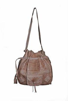 Moroccan Tribal Natural Embossed Leather Hobo Handbag Moroccan Furniture 2da2bcbaa677e