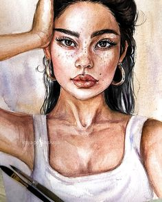 Beautiful watercolor painting of . Professional artist Artwork by ▪︎Fabriano Ambass. Pencil Art Drawings, Art Drawings Sketches, Cool Drawings, Easter Drawings, Watercolor Portrait Tutorial, Watercolor Portraits, Watercolor Sunflower, Watercolor Trees, Watercolor Landscape