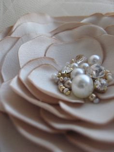 Brooch and Hair clip 2 in1 Flower Beige Sand by LeFlowers on Etsy,