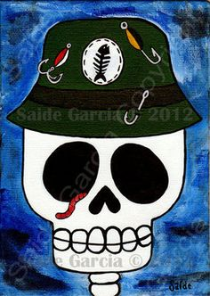 Dying to go fishing Skull 5x7 Original Print