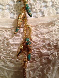Italian Cornicello Chili Pepper Horn Statement Turquoise Gold Pendant Charm | eBay