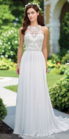 Sleeveless chiffon A-line gown with hand-beaded illusion high jewel neckline, hand-pattern beaded sweetheart bodice with natural waist, beaded illusion keyhole back, softly gathered skirt with chapel train.