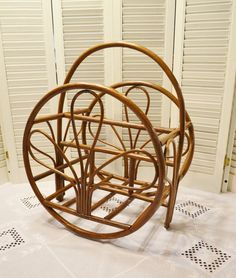 Vintage Rattan Bamboo Magazine Rack Holder Natural by PanchosPorch