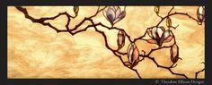 Magnolia stained glass window  -Theodore Ellison Designs