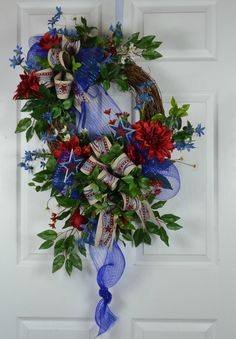 Patriotic Front Door Wreaths - Patriotic Deco Mesh Wreaths - 4th of July Deco Mesh Wreaths - July 4th Door Wreaths - Summer Door Wreaths by GaslightFloralDesign on Etsy https://www.etsy.com/listing/292238703/patriotic-front-door-wreaths-patriotic