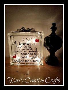 Teacher's Appreciation Glass Block, Teacher's Day, School, Teaching, Teacher's gift, A teacher takes a hand, Education, Educational Gift