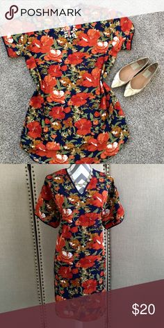 """Gold Coast floral shift dress Gold Coast floral shift dress 36 inches from shoulder to hem, 21"""" underarm to underarm. 100% polyester. Dresses"""