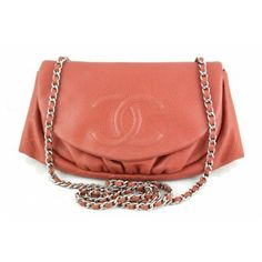 Chanel Coral Caviar Half Moon Wallet on Chain WOC Bag