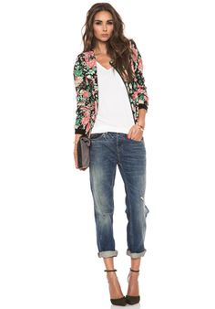 Love the bomber jacket, but the gap between the heels and the jeans screams 'budgies'.