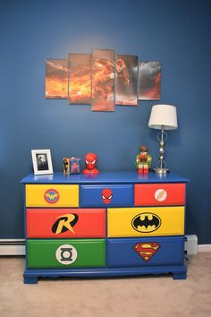 cute room diy Mama of Both Worlds - DIY Superhero Room Redux on a Budget Boys Superhero Bedroom, Marvel Bedroom, Superhero Room Decor, Lego Bedroom, Childs Bedroom, Batman Boys Room, Boys Room Decor, Home Decor Bedroom, Kids Room