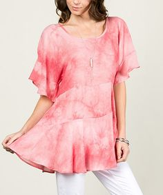 Another great find on #zulily! Coral Tie-Dye Ruffle Dolman Tunic #zulilyfinds