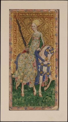 Title  Female Knight (Swords)  Cary Collection of Playing Cards  Author  Bembo, Bonifacio, c. 1445  Place of origin  Milan, Italy  Date  1428-1447  Physical Description  1 card  col.  19 x 9 cm.  Note  Also known as the Cary-Yale pack  The unique addition of the Female Knight and Female Valet may be an indication that this pack was intended to be used by a female member of court.  Part of  Bembo, Bonifacio, c. 1445  Visconti Tarot