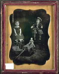 Two Children with Toys, c. 1855   Unidentified Photographer   daguerreotype, quarter-plate, Image: 10.80 x 8.30 cm (4 1/4 x 3 1/4 inche...