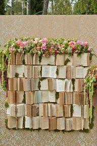 Garden Book Sculpture ~~! boeken bloemen muur, bijvoorbeeld voor een bruiloft *