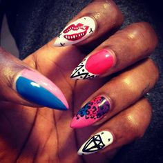 #nails #nailart #naillove bright stilleto nails with super funky design, from fb :)