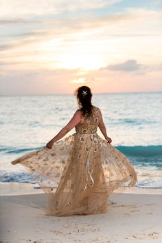 Dancing in the Sunset Bride Beach Weddings, Ball Gowns, Dancing, Bride, Sunset, Formal Dresses, Fashion, Weddings At The Beach, Ballroom Gowns