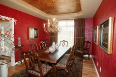 Dining Room Tuscan Style with living Venetian plaster walls.  Designed by Debbie Arnold