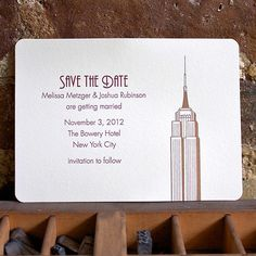 Empire State Building, letterpress save the date
