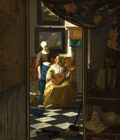 "Johannes Vermeer, ""The Love Letter,"" c. oil on canvas, Rijksmuseum, purchased with the support of Vereniging Rembrandt Johannes Vermeer, Renaissance, Vermeer Paintings, Oil Paintings, Fra Angelico, Canvas Art, Canvas Prints, Letter Canvas, Art Prints"