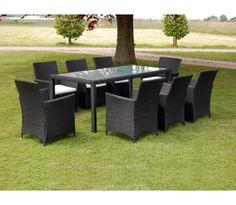 Trädgårdsgrupp svart 8 stolar 1 bord inklusive dynor