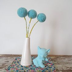 "Large Pom Pom Flowers - Robins Egg Blue Felt Flowers - Wool Yarn Flowers - Blue Felt Balls - Craspedia, Billy Balls - Modern Floral Bouquet. Beautiful robins egg blue pom pom flowers ! Each flower head measures over 1 1/2"" (3 1/2 cm) diameter. Each pom is needle felted by me using 100% wool. This small bouquet includes three hand needle felted pom pom flowers. These colours make for a cheerfful modern arrangement. The stems are florists wire double wrapped in Heather Bailey mustard and…"